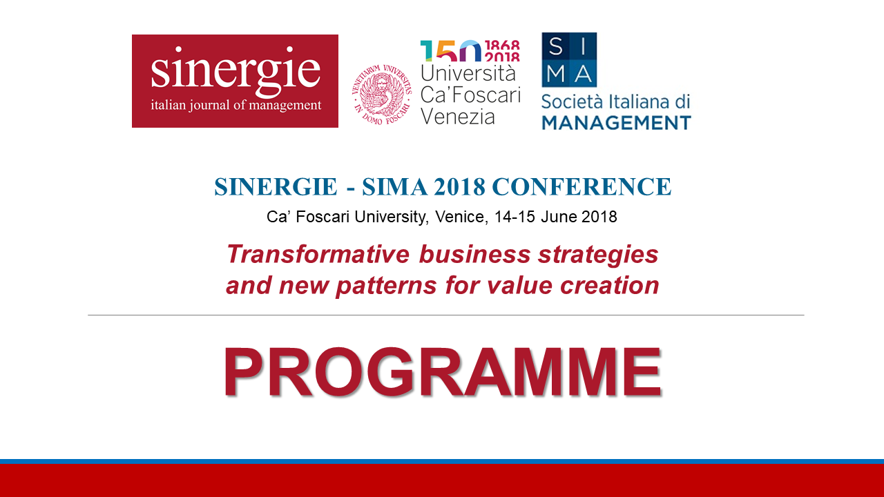 Sinergie Sima 2018 conference programme