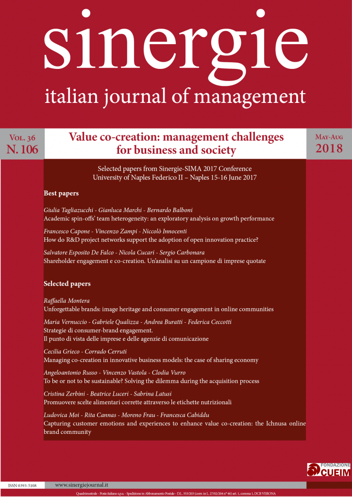 Value co-creation: management challenges for business and society